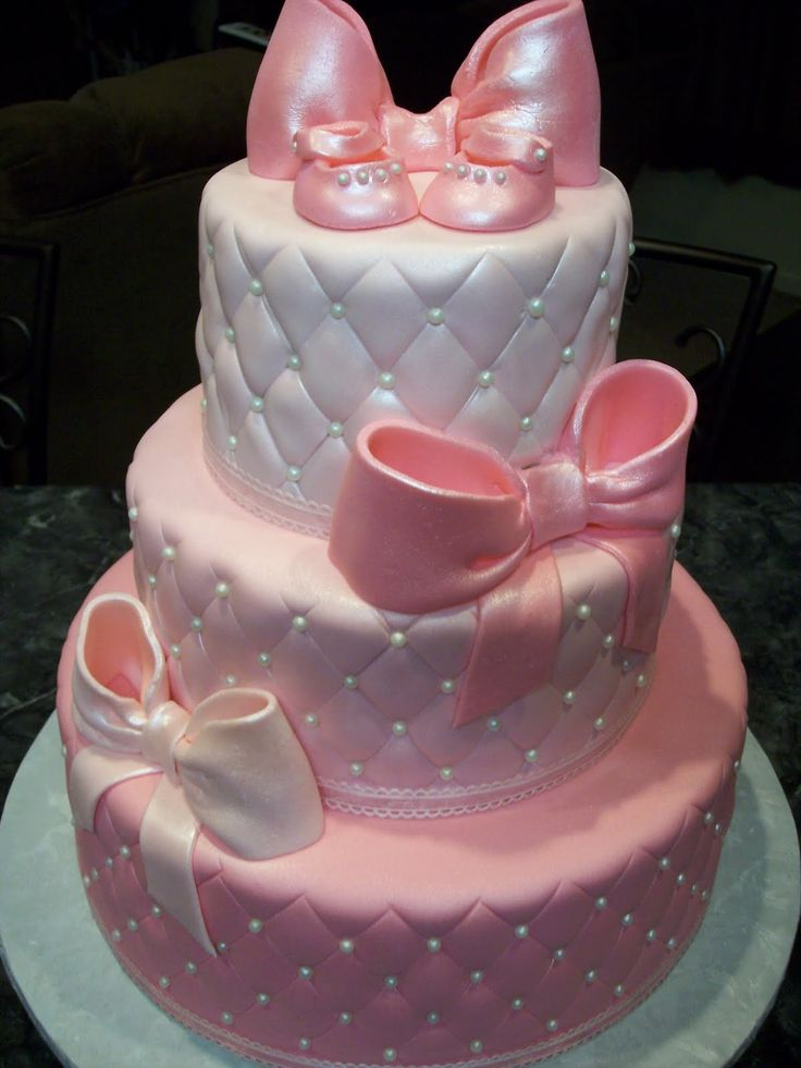 MoniCakes Pearls  Bows Pink Quilted Baby Shower Cake