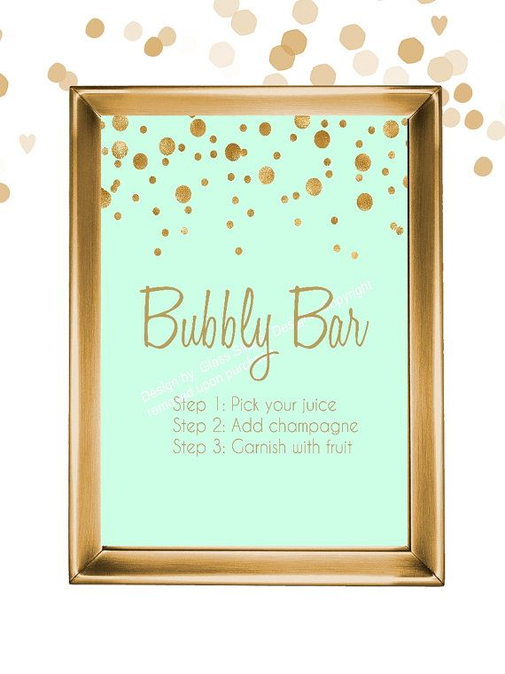 Set of 5 printable mint and gold champagne bridal shower signs/ champagne brunch signs/ champagne bridal shower/ mimosa bar