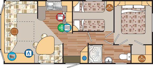 2 bedroom caravan layout