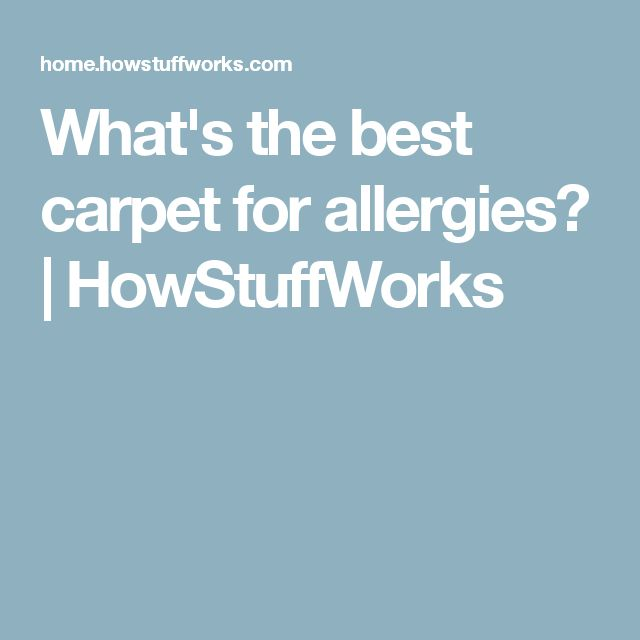 What's the best carpet for allergies? | HowStuffWorks