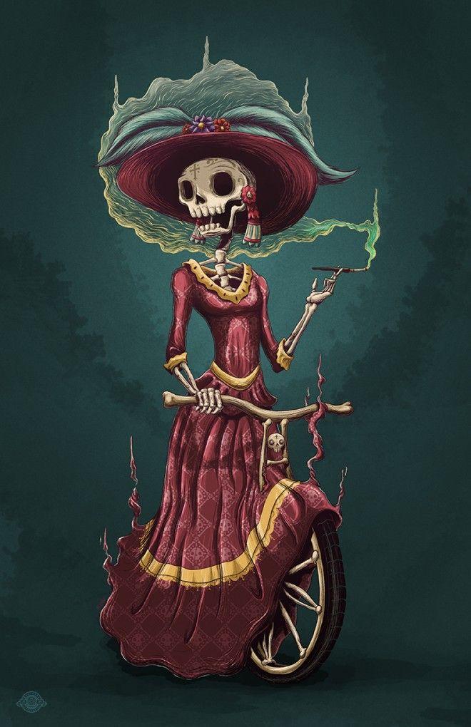 skeleton lady on bike