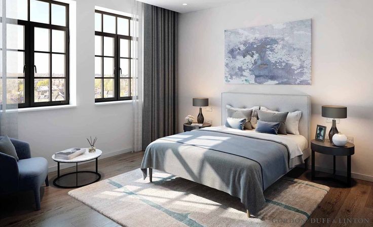 CGI of master bedroom in conversion of old factory in North London. Crittall windows.