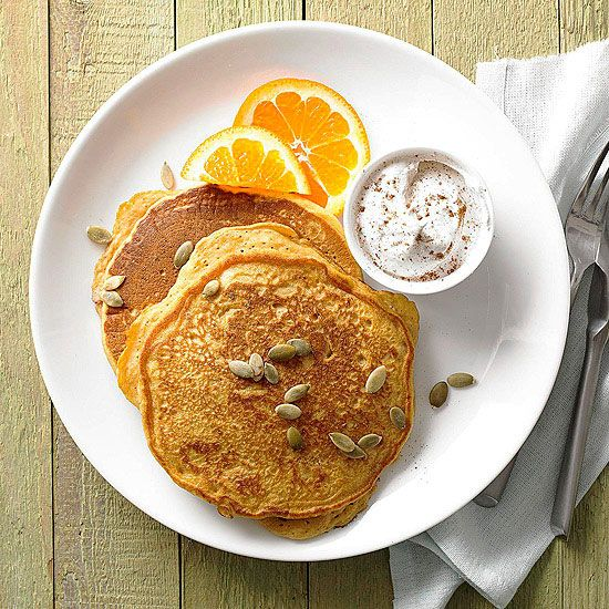 Cinnamon, nutmeg, and ginger make these Pumpkin Pancakes the best way to start your chilly fall day! More pancake recipes:  www.bhg.com/...