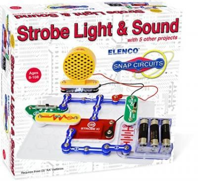 """Snap Circuits: Strobe Light & Sound! Adjustable-speed strobe light with sound effects, and 14 additional projects. Ages: 8-10. Requires: 3 """"AA"""" Batteries (Not Included)"""