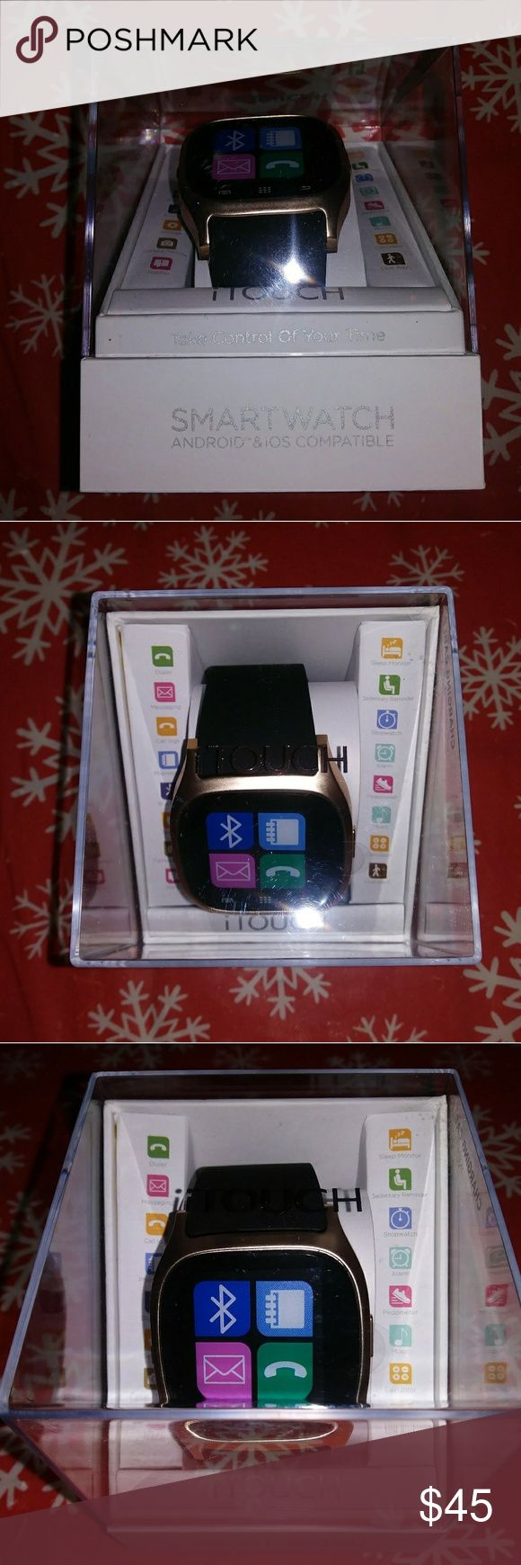 iTouch Smartwatch by American Exchange Brand new in box. Compatible with Android 4.4 and higher. Compatible with iPhones & iPads running iOS 7.2 and higher. Features dialer, messaging, call log, phonebook, Bluetooth, settings, camera remote, notifier, sleep monitor, sedentary reminder, stopwatch, alarm, pedometer, music, calculator, & lost alert. American Exchange Other