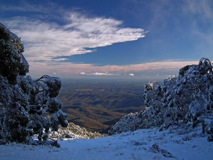 the view from Mt Baw Baw towards the LaTrobe valley