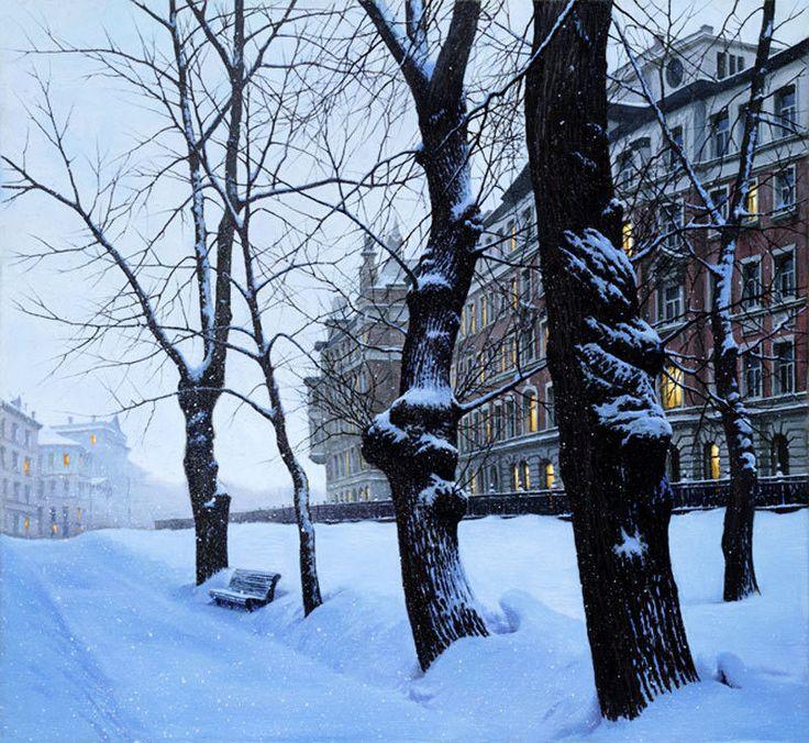 золото красным, зимний городской пейзаж тулы фото это