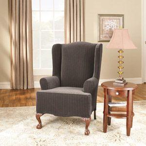 Leather Sleeper Sofa Surefit Stretch Pinstripe Piece Wing Chair Slipcover Black