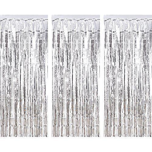 3 Pièces Rideau Métallique de Frange, Frange de Feuille Rideau Shimmer Porte Fenêtre Décoration pour Fête de Mariage d'Anniversaire (Argent)