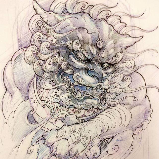 Upcoming Foodog. #foodog #sketch #drawing #illustration #asiantattoo #asianink #irezumi #tattoo #irezumicollective #chronicink