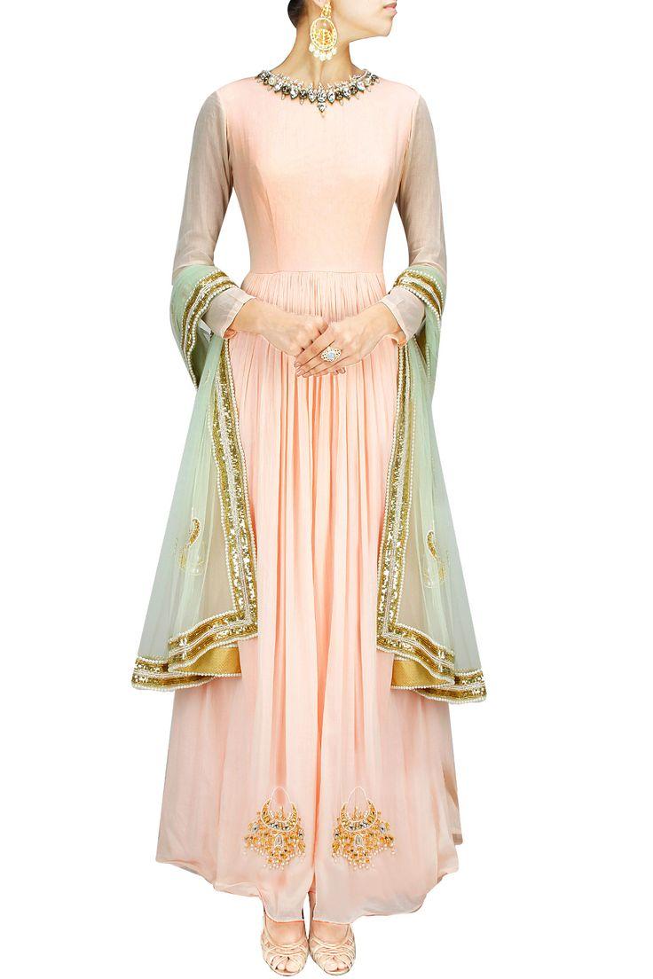 Peach and mint chandbali embroidered anarkali set BY HARSHITAA CHATTERJEE DESHPANDE. Shop now at: www.perniaspopups... #perniaspopupshop #designer #stunning #fashion #style #beautiful #happyshopping #love #updates