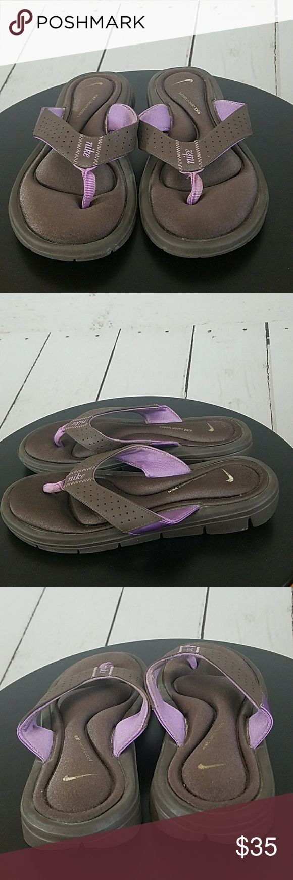 Nike Women's Sandals Size 6 Comfort Brown Purple Nike Women's Sandals Size 6 Comfort Brown Purple Gently used may have some lite markings. These are preowned sandals. Nike Shoes Sandals