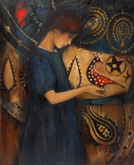 the girl with ,oil on canvas,