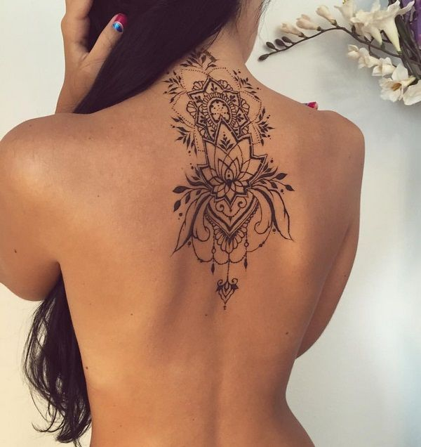 lotus henna tattoos ideas neck back