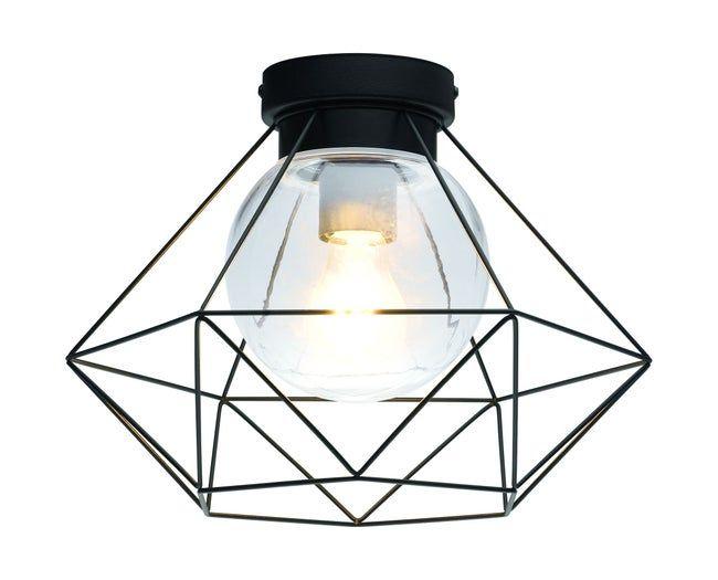 Plafonnier Industriel Metal Noir E27 Eglo 33388 D 32 7 Cm Leroy Merlin En 2020 Plafonnier Lampe Salle De Bain Plafonnier Industriel