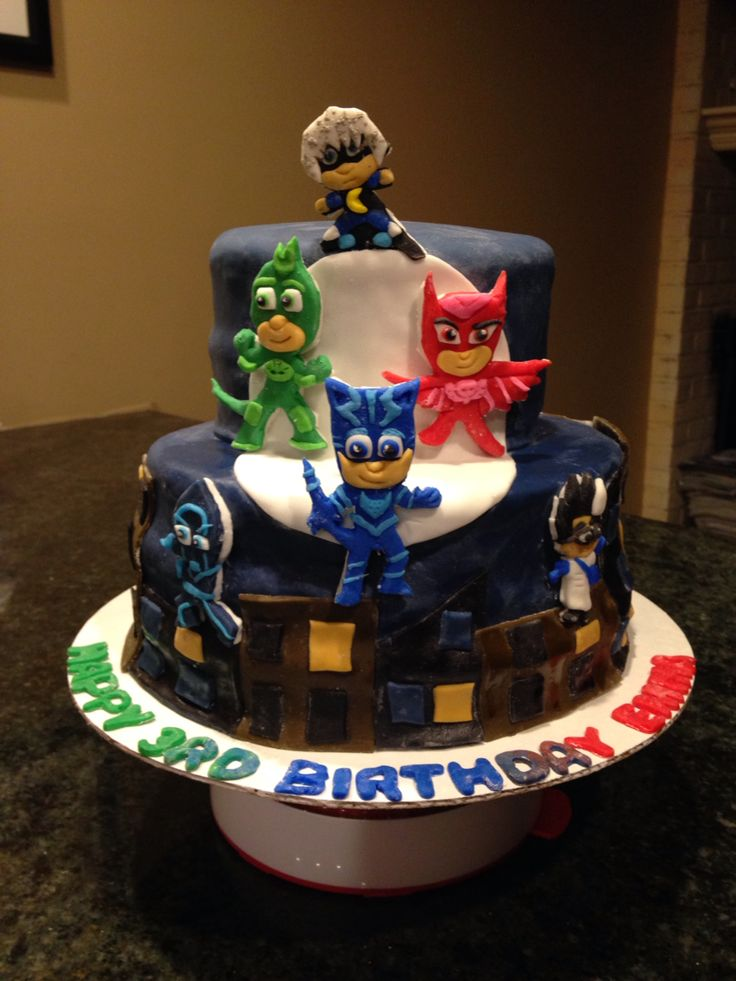 Pj Masks Cake Birthday Cake Boy Birthday Parties Mask