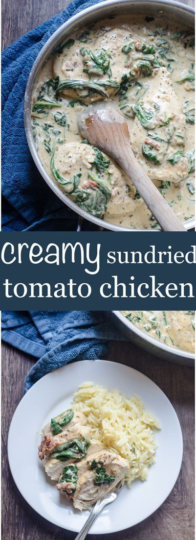 Creamy sundried tomato chicken - Spinach, sun dried tomatoes, and cream all work to create a yummy chicken dish that is sure to please. | http://cookingcrumbs.com