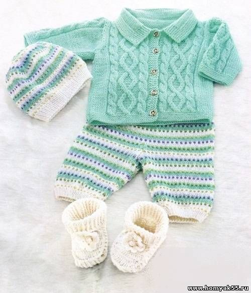 Комплект для малыша - жакет, штанишки, шапочка, пинетки