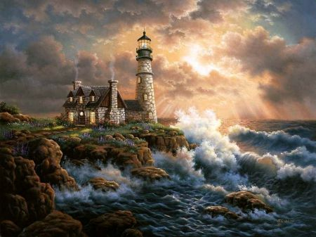 Sea paintings lighthouses and waves on pinterest for Disegni casa faro