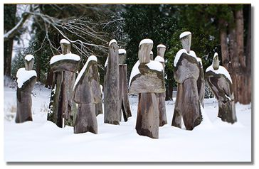 The Ancestor sculpture in winter.