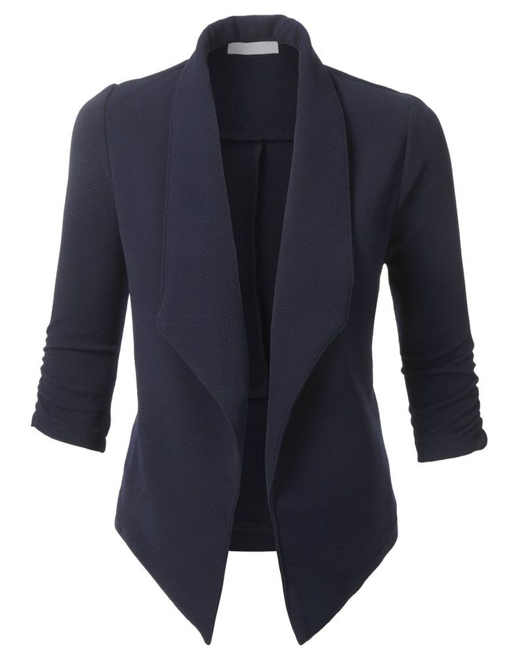 LE3NO Womens Textured Open Front Tuxedo Blazer with 3/4 Ruched Sleeves