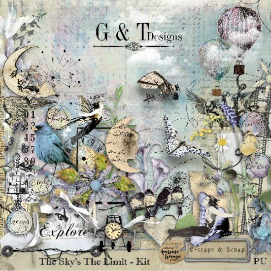 G & T DESIGNS THE SKY'S THE LIMIT . Available at E-scrap and Scraps