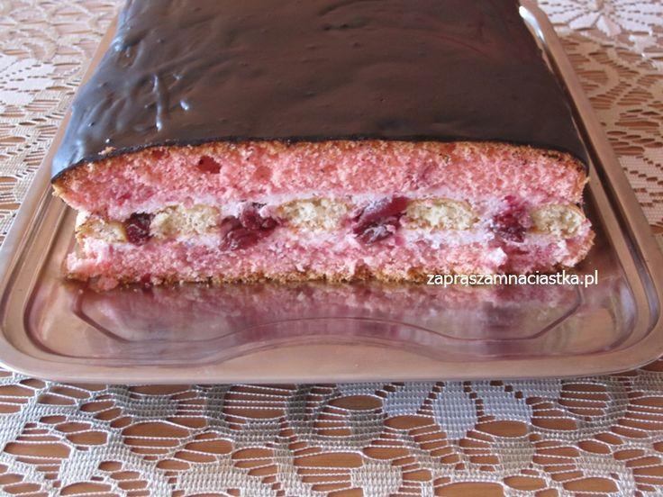 Różowe ciasto z wiśniami - :: www.zapraszamnaciastka.pl ::