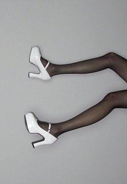 White Patent Style Platform Mary Janes