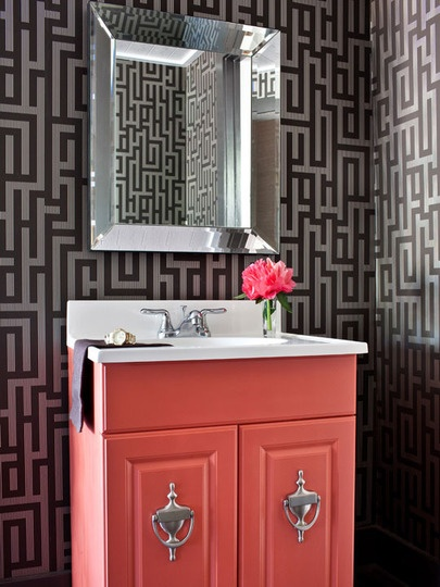 Like the door knockers as cabinet pulls- adds an interesting and surprising architectural element: Door Knockers, Small Bathroom, Modern Bathroom, Color, Wallpaper, Cabinet, Bathroom Ideas, Powder Rooms