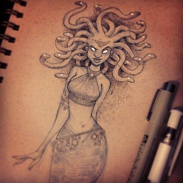 #medusa #inktober by briankesinger