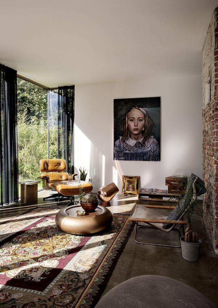 Midcentury boho livingroom. Railway house Santpoort, zw6 interior, Jeroen van Zwetselaar, Inga Powileit
