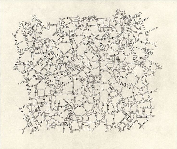 """Dice City (city unplanned), drawing by Kat Masback. City map generated using """"dice rolls"""" at random.org. Roll dice to select 1 of 6 road pieces 
