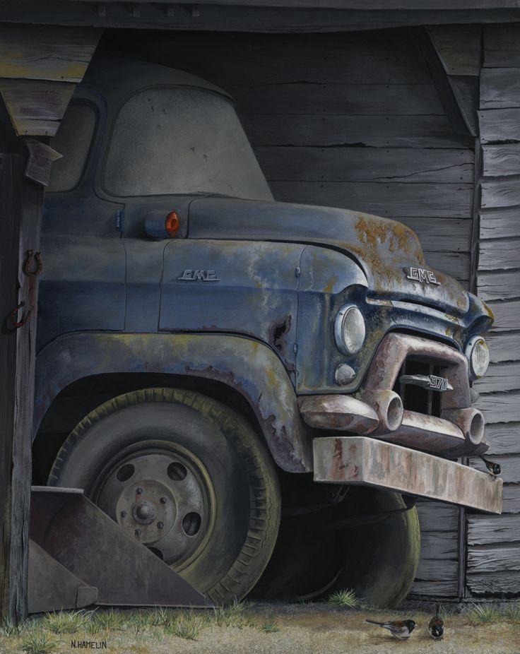 Back In The Barn, Acrylic Painting, N. Hamelin