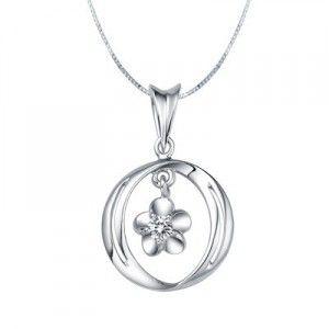 Circle Shape Diamond Pendant on 10k White Gold