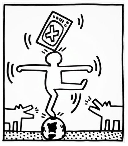 TV and Figure II by Keith Haring https://artsation.com/en/shop/keith-haring