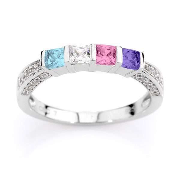 Princess Ring with Stones on Three Sides