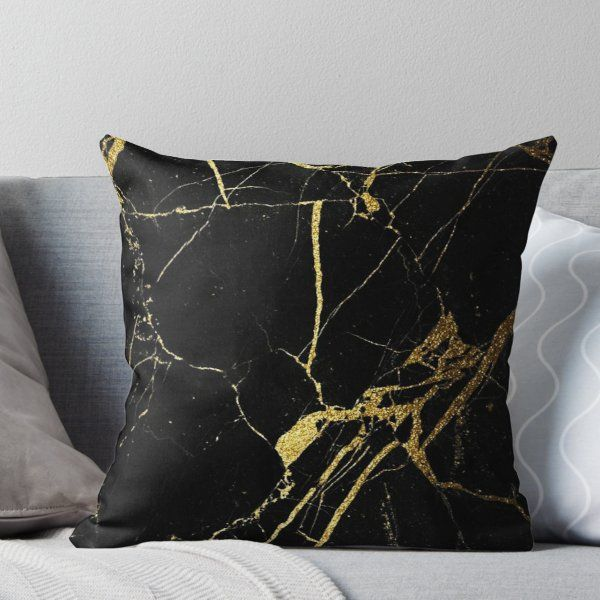 Black And Gold Marble Throw Pillow Black And Gold Marble Black And Gold Living Room Gold Bedroom Decor
