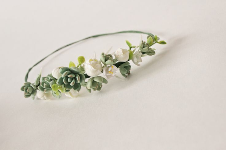 Wedding succulent headband Bridal head wreath with succulents and flowers boho untailored floral crown Wedding floral tiara green ivory tiar by CoolClayFlowers on Etsy https://www.etsy.com/listing/270730258/wedding-succulent-headband-bridal-head
