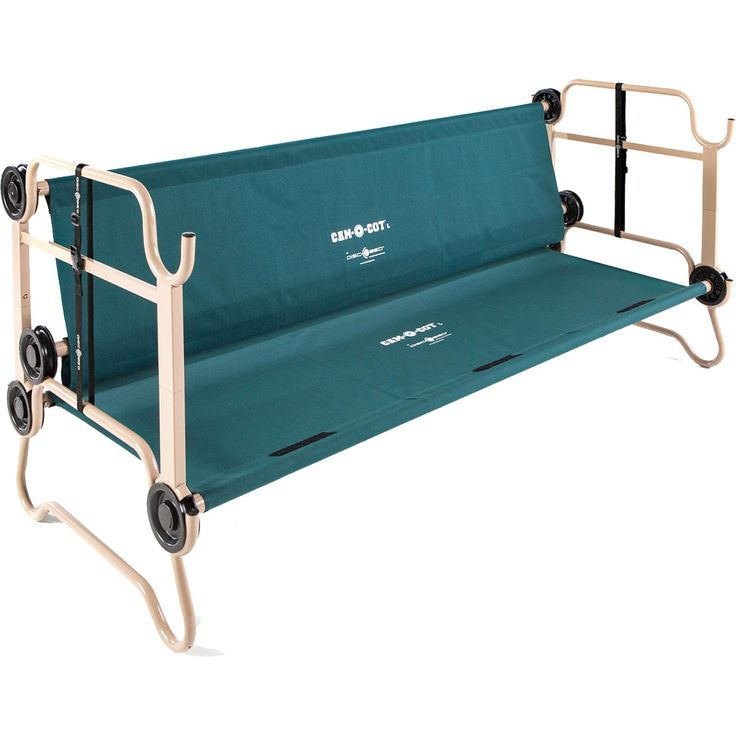 Sleep comfortably camping outdoors or at home in a guest room with the Cam-O-Bunk XL Green Bunk Bed from Disc-O-Bed. By using the stack adapters supplied, not only do the two cots bunk thereby ensurin