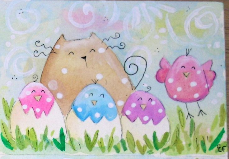original watercolor ACEO- happy cat spring eggs little birds pastel colors
