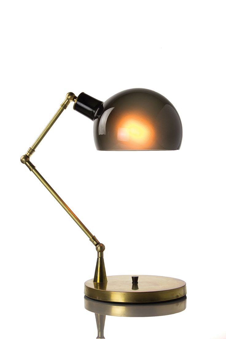 Nate Cotterman Piano Table Lamp: Grey/Brass