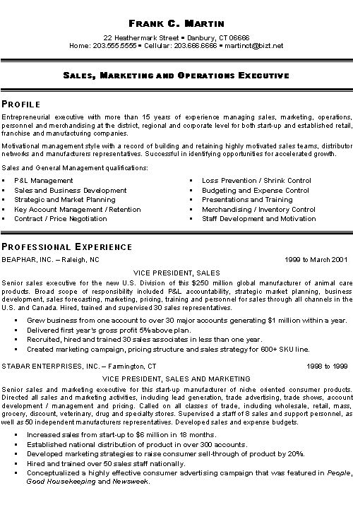 executive classic format resume sample free templates downloads marketing sales example style