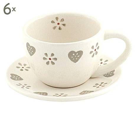 CUISINE PROVENZALE: Set di 6 tazze con piattini in ceramica panna - 90 cc