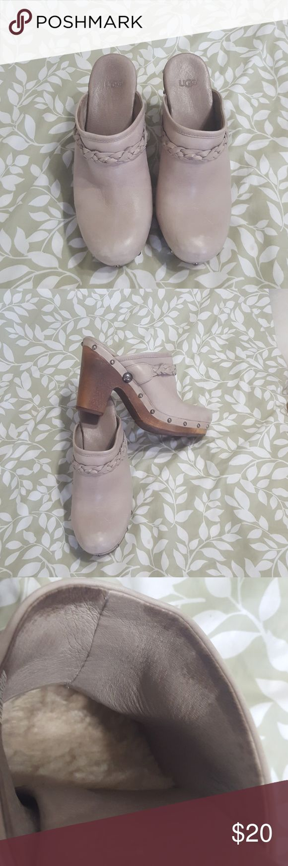 """UGG Grey shearling lined leather heel clogs GUC 4"""" heel, scuff marks from wear, leather needs a little TLC, most of those should come out. UGG Shoes Mules & Clogs"""