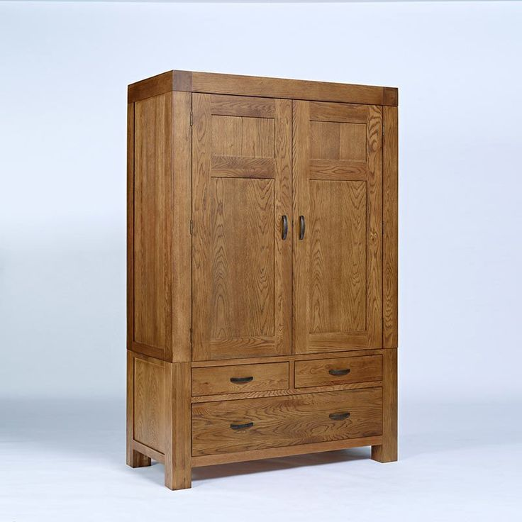 Santana Rustic Solid Oak Wardrobe (Sizes Single, Double, Triple)