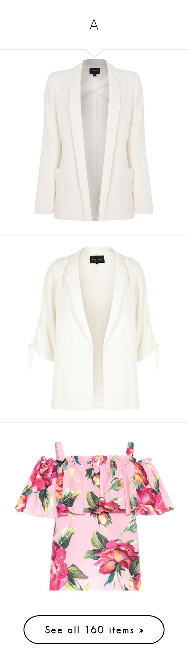 """""""A"""" by anetkasemik ❤ liked on Polyvore featuring outerwear, jackets, blazers, blazer, coats, sale women coats & jackets, armani jeans jacket, blazer jacket, white blazer jacket and white jacket"""