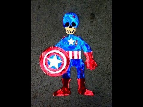 DIY capitán América esqueleto de papel día de muertos Halloween ideas paper skeleton - YouTube