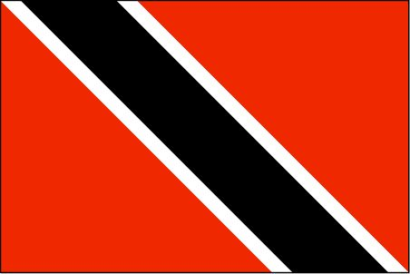 Trinidad and Tobago Flag ~ The flag of Trinidad and Tobago was officially adopted on August 31, 1962, after the islands gained their independence from Britain.           The two white stripes are symbolic of the bountiful sea, the red represents the people, and black represents their hard work and strength.