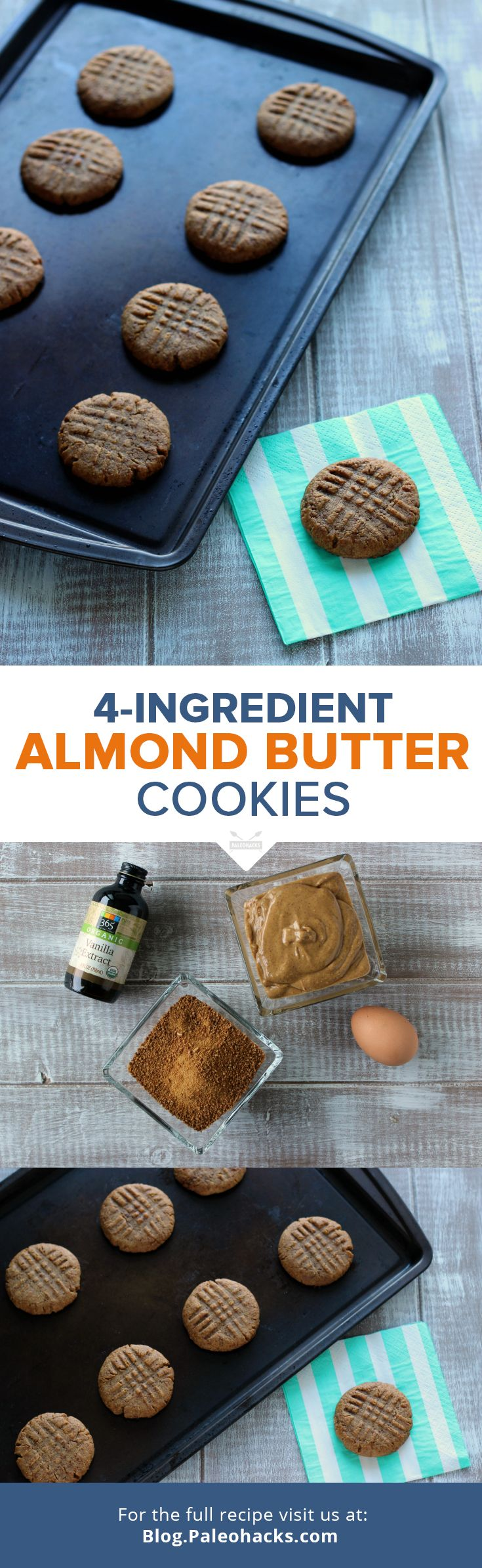 Simple Paleo Almond Butter Cookies.  Feed Your Cookie Cravings Without a Gram of Guilt.  -  almond butter, or other nut butters, egg, vanilla, sugar.  sweet snack.   lj