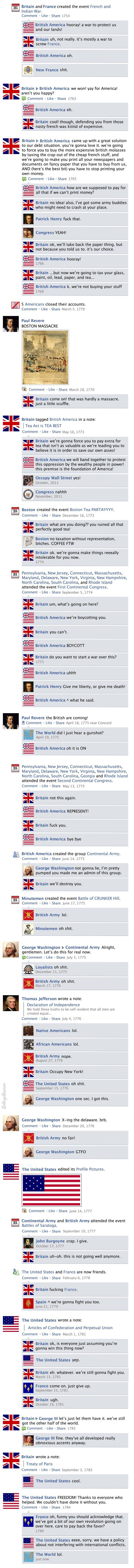 Revolutionary War Facebook News Feed